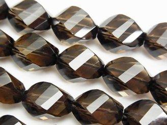 天然石卸 素晴らしい輝き!スモーキークォーツAAA 4面ツイスト×多面ライスカット14×10mm 1/4連〜1連(約37cm)