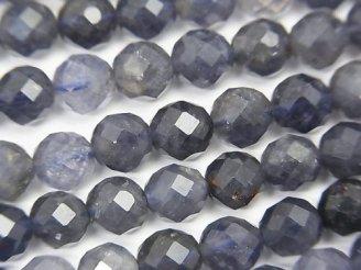 天然石卸 素晴らしい輝き!アイオライトAA++ 64面ラウンドカット6mm 半連/1連(約38cm)