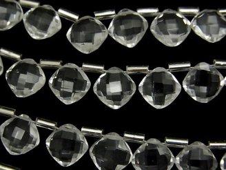 天然石卸 宝石質クリスタルAAA ダイヤカット(クッションカット)9×9mm 半連/1連(18粒)