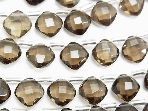 宝石質スモーキークォーツAAA ダイヤカット(クッションカット)9×9mm 半連/1連(18粒)