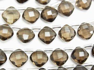 天然石卸 宝石質スモーキークォーツAAA ダイヤカット9×9mm 半連/1連(20粒)