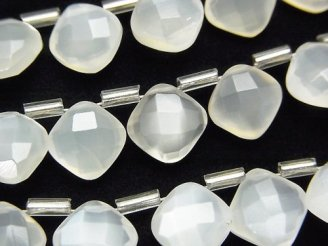 天然石卸 宝石質ホワイトムーンストーンAAA ダイヤカット(クッションカット)9×9mm 半連/1連(18粒)
