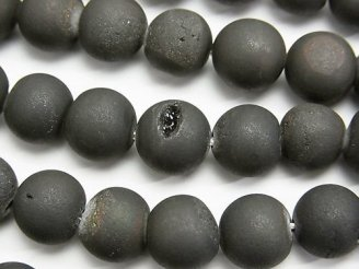 天然石卸 1連780円!ドゥルージーアゲート ラウンド10mm マットブラック 1連(約37cm)
