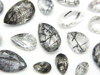天然石卸 粒売り!宝石質トルマリンクォーツAAA 穴なし ペアシェイプファセットカット 5粒 1,380円