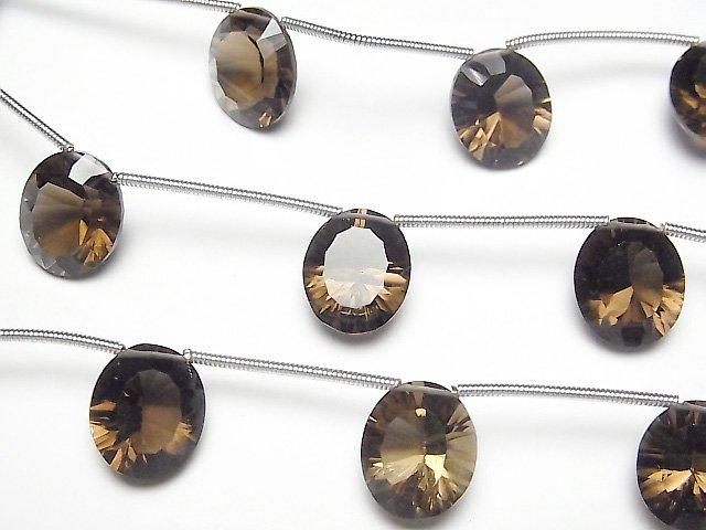 宝石質スモーキークォーツAAA オーバル コンケーブカット12×10mm 1連(4粒)