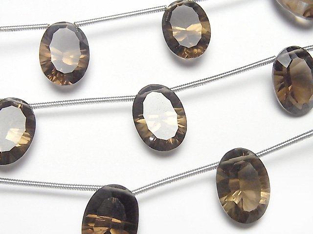 宝石質スモーキークォーツAAA オーバル コンケーブカット14×10mm 1連(4粒)