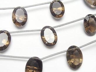 天然石卸 1連1,380円!宝石質スモーキークォーツAAA オーバル コンケーブカット14×10mm 1連(5粒)