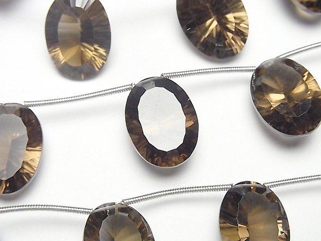 【動画】宝石質スモーキークォーツAAA オーバル コンケーブカット18×13mm 1連(4粒)
