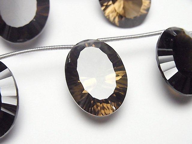 宝石質スモーキークォーツAAA オーバル コンケーブカット22×16mm 1連(4粒)