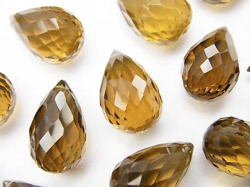 【動画】【粒売り】宝石質ハニークォーツAAA ドロップ コンケーブカット 5粒