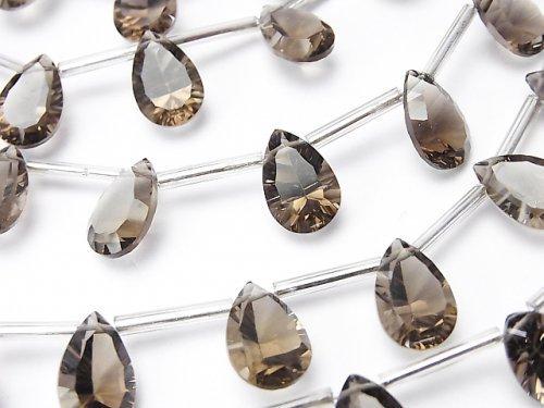 宝石質スモーキークォーツAAA ペアシェイプ コンケーブカット12×8mm 半連/1連(8粒)