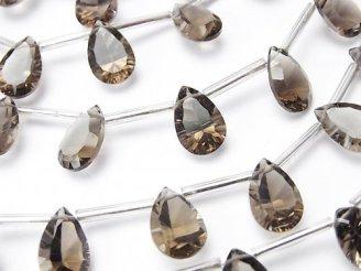 天然石卸 宝石質スモーキークォーツAAA ペアシェイプ コンケーブカット12×8mm 半連/1連(10粒)