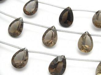 天然石卸 宝石質スモーキークォーツAAA ペアシェイプ コンケーブカット14×10mm 半連/1連(10粒)