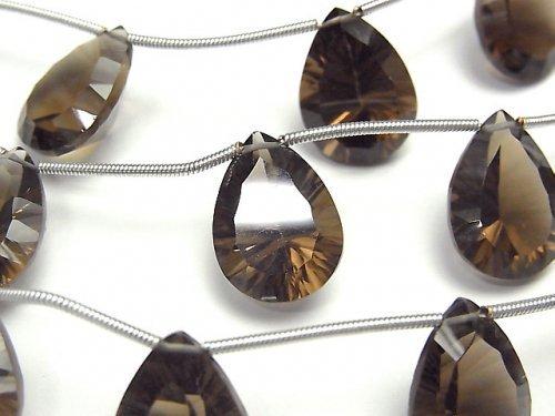 宝石質スモーキークォーツAAA ペアシェイプ コンケーブカット16×12mm 1連(4粒)
