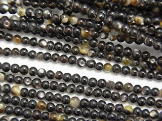 天然石卸 1連480円!高品質ブラックシェル(黒蝶貝)AAA 極小ラウンド2mm 1連(約37cm)