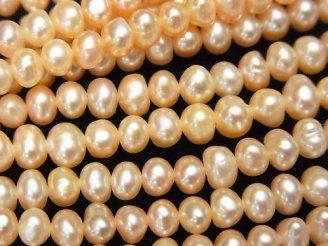 天然石卸 1連480円!淡水真珠AA ポテト4〜5mm ピンクオレンジ 1連(約34cm)