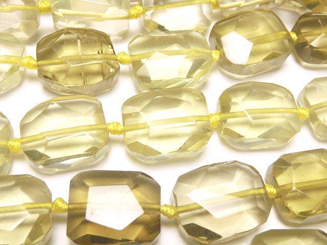 レモンクォーツAAA- フラットタンブルカット 半連/1連(約37cm)
