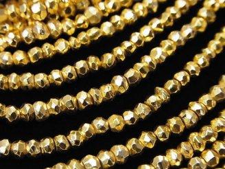 天然石卸 1連1,280円!パイライトAAA- ゴールドコーティング ボタンカット 1連(約32cm)