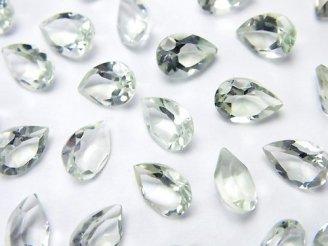 天然石卸 宝石質グリーンアメジストAAA 穴なしペアシェイプファセットカット9×6×4mm 6粒580円!