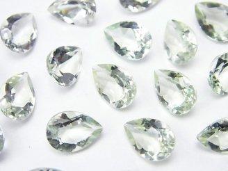 天然石卸 宝石質グリーンアメジストAAA 穴なしペアシェイプファセットカット11×8×5mm 5粒780円!