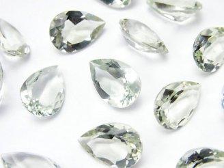 天然石卸 宝石質グリーンアメジストAAA 穴なしペアシェイプファセットカット13×9×5mm 3粒680円!