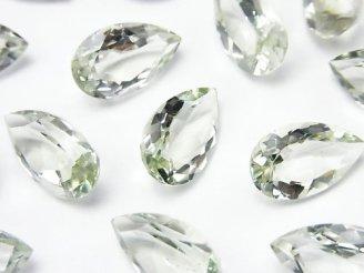 天然石卸 宝石質グリーンアメジストAAA 穴なしペアシェイプファセットカット15×9×5mm 3粒880円!