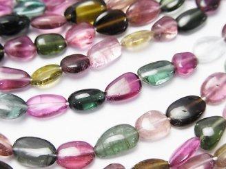 天然石卸 宝石質マルチカラートルマリンAAA オーバル〜タンブル 半連/1連(約38cm)
