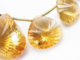 天然石卸 1点もの!宝石質シトリンAAA マロン コンケーブカット 1連(約17cm)