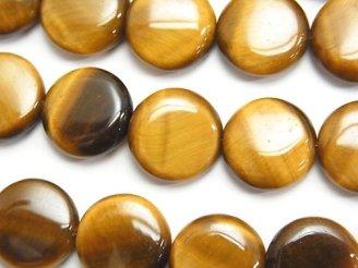 天然石卸 イエロータイガーアイAAA コイン14×14×5mm 半連/1連(約37cm)