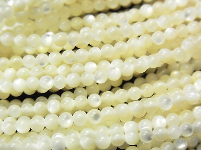 高品質ホワイトシェル(白蝶貝)AAA ラウンド3mm 1連(約38cm)