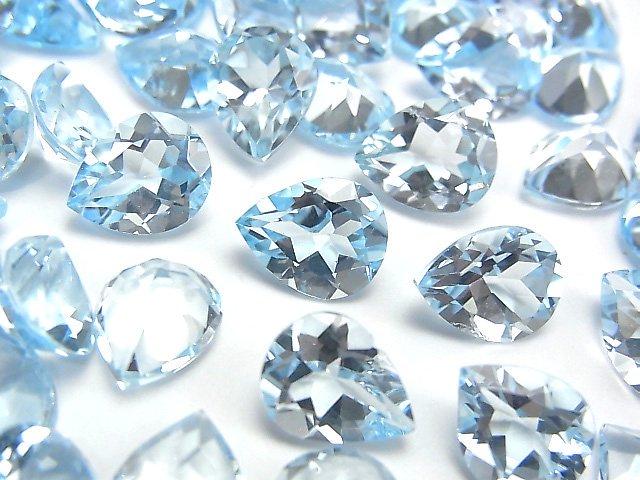 【動画】宝石質スカイブルートパーズAAA 穴なしペアシェイプファセットカット10×8mm 3粒