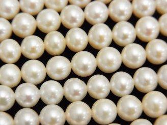 天然石卸 1連2,980円!淡水真珠AAA セミラウンド6mm ホワイト 1連(約38cm)