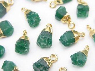 天然石卸 グリーンオニキス ラフロック チャーム ゴールドカラー 5個1,680円!