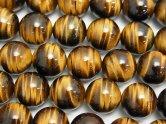 天然石卸 高品質イエロータイガーアイAAA ラウンド12mm 半連/1連(約37cm)