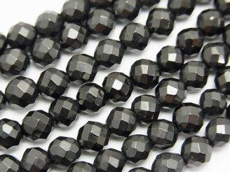 天然石卸 1連880円!天然ジェット(木の化石) 64面ラウンドカット6mm 1連(約36cm)