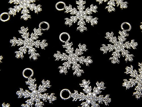 メタルパーツ スノークリスタル(雪の結晶) チャーム15×11mm シルバーカラー(CZ付) 1個