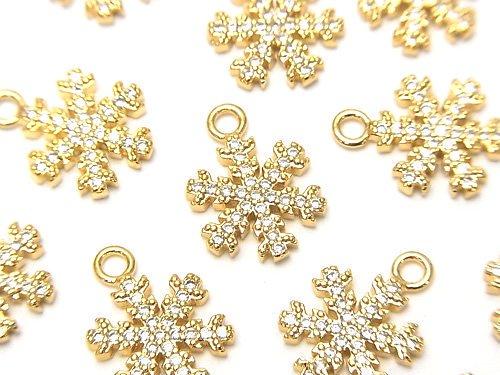 メタルパーツ スノークリスタル(雪の結晶) チャーム15×11mm ゴールドカラー(CZ付) 1個
