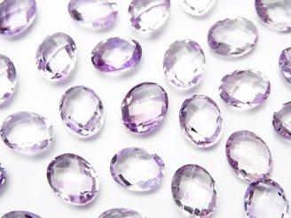 天然石卸 宝石質ピンクアメジストAAA 穴なしオーバルクッションカット9×7mm 5粒980円!