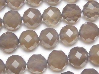 天然石卸 素晴らしい輝き!グレーオニキスAAA 64面ラウンドカット10mm 半連/1連(約38cm)