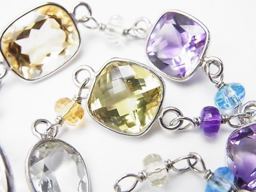 【1点もの】宝石質いろんな天然石AAA 枠留めファセットカット SILVER925製 1連(ブレス) NO.142
