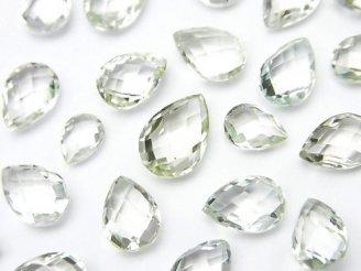 天然石卸 宝石質グリーンアメジストAAA 穴なしペアシェイプカット 5粒1,480円!