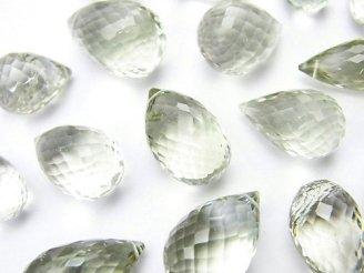 天然石卸 粒売り!宝石質グリーンアメジストAAA- 大粒ドロップ ブリオレットカット 3粒2,780円〜!