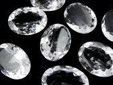 天然石卸 宝石質クリスタルAAA 穴なしオーバルファセットカット25×18mm 2粒1,980円!