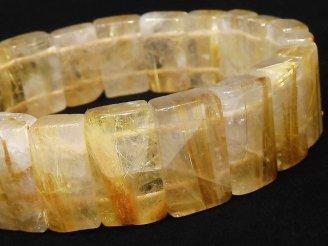 天然石卸 1点もの!タイチンルチルクォーツAAA- 2つ穴レクタングル16×8〜11×6〜7 1連(ブレス) NO.21