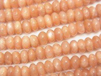 天然石卸 オレンジムーンストーンAA++ ロンデル5×5×3mm 半連/1連(約38cm)
