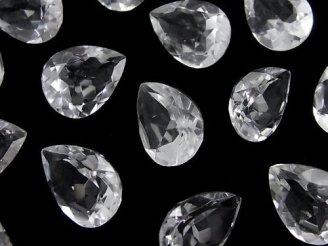 天然石卸 宝石質クリスタルAAA 穴なしペアシェイプファセットカット16×12mm 4粒1,580円!
