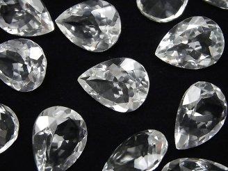 天然石卸 宝石質クリスタルAAA 穴なしペアシェイプファセットカット20×15mm 3粒1,980円!