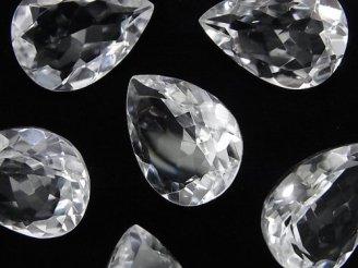 天然石卸 宝石質クリスタルAAA 穴なしペアシェイプファセットカット22×16mm 3粒2,480円!