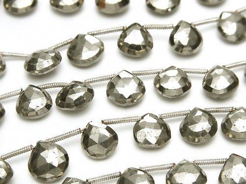 宝石質ゴールデンパイライトAAA マロン ブリオレットカット 1連(約16cm)