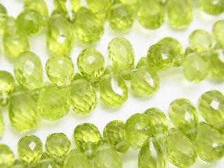 天然石卸 宝石質ペリドットAAA- ドロップ ブリオレットカット 1/4連〜1連(約18cm)
